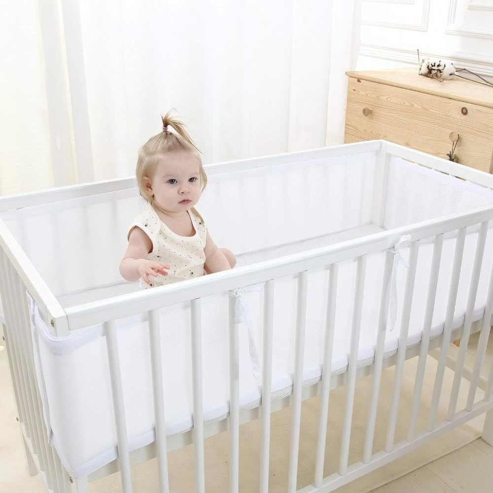 Baby Breathable Mesh Crib Bumper,White