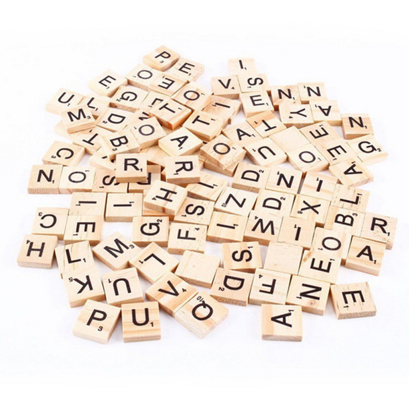 100 pcs/set English Letter Puzzle Board Game   Interactive Intelligence Education Wooden Game DIY Game Accessories