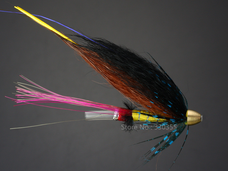 100 Pcs Tube Fly Black/Brown/Blue Cone Heads Salmon And Sea Trout Fly Fishing Flies Lures