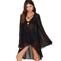 Las mujeres más el tamaño de playa cover up gasa vestido de sun beach dres de manga murciélago de color negro