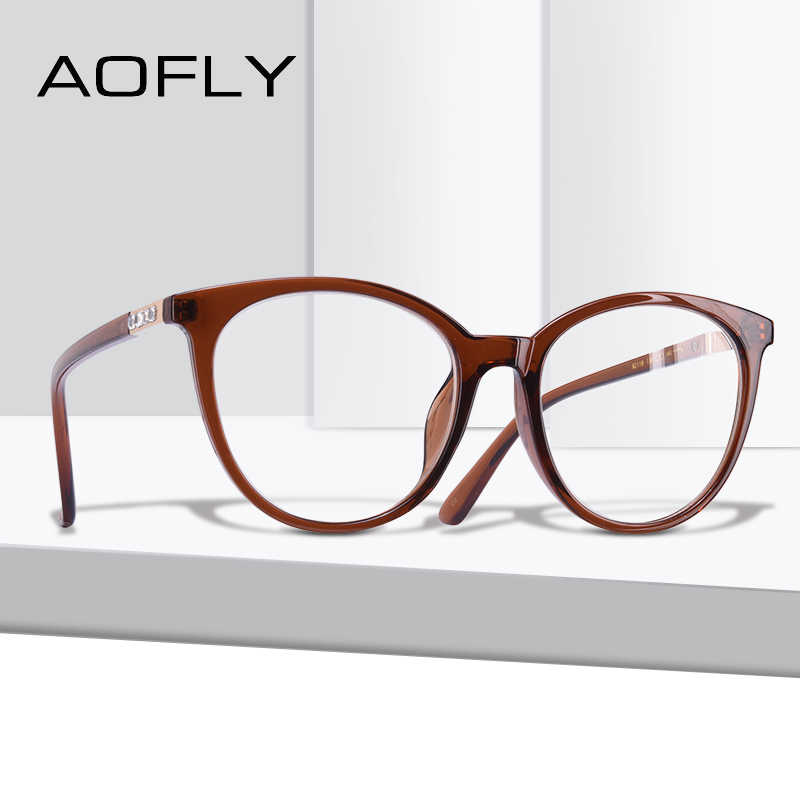 e03c384bbbd Detail Feedback Questions about AOFLY BRAND DESIGN Cat Eye Eyeglasses Frame  Reading Spectacles Women Plain Glasses Frame Optical Oval Clear Lens AF9208  on ...
