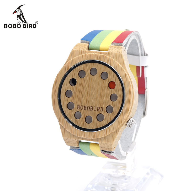 BOBO BIRD V-A01 Mens Wooden Watch 12 Holes Design Bamboo Dial Rainbow Band Quartz Watch in Gift Box montre homme marque de luxe bobo bird l b08 bamboo wooden watches for men women casual wood dial face 2035 quartz watch silicone strap extra band as gift