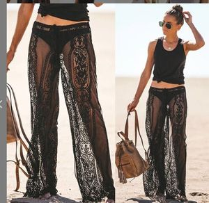 Image 2 - Summer Ladies Sexy Lace Pants Beach Cover Up Trousers High Waist Pants