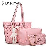 SHUNRUYAN 3 PCS/Set Buy One Get three Bags PU Leather Handbags Women Handbag Fashion three Female Bag Solid Messenger Bag