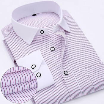 New Arrived 2018 mens work shirts Brand soft Long sleeve square collar regular striped /twill men dress shirts white male tops  1