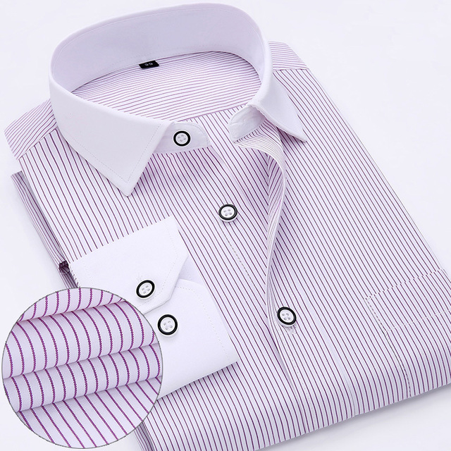 New Arrived 2017 mens work shirts Brand Long sleeve striped /twill men dress shirts white male shirts 4xl 13colors 1