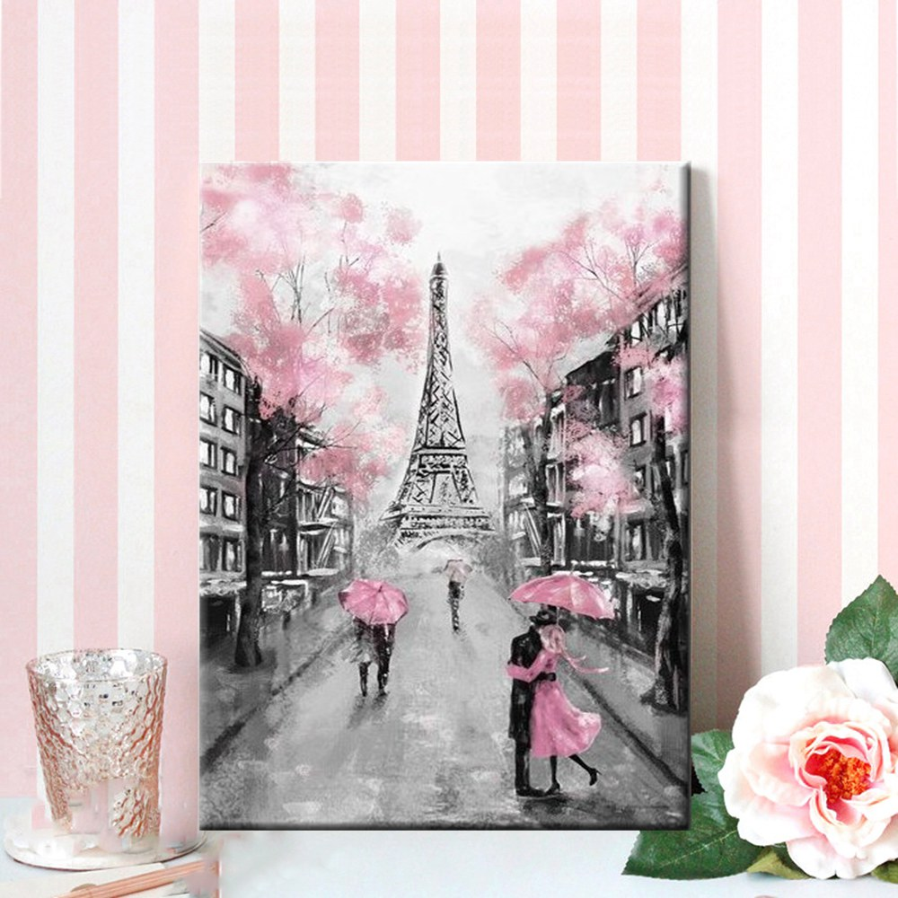 DIY Pink Umbrella Rainy Day Landscape Romatic Couple Paris Tower City Paint By Numbers Number Painting Coloring by