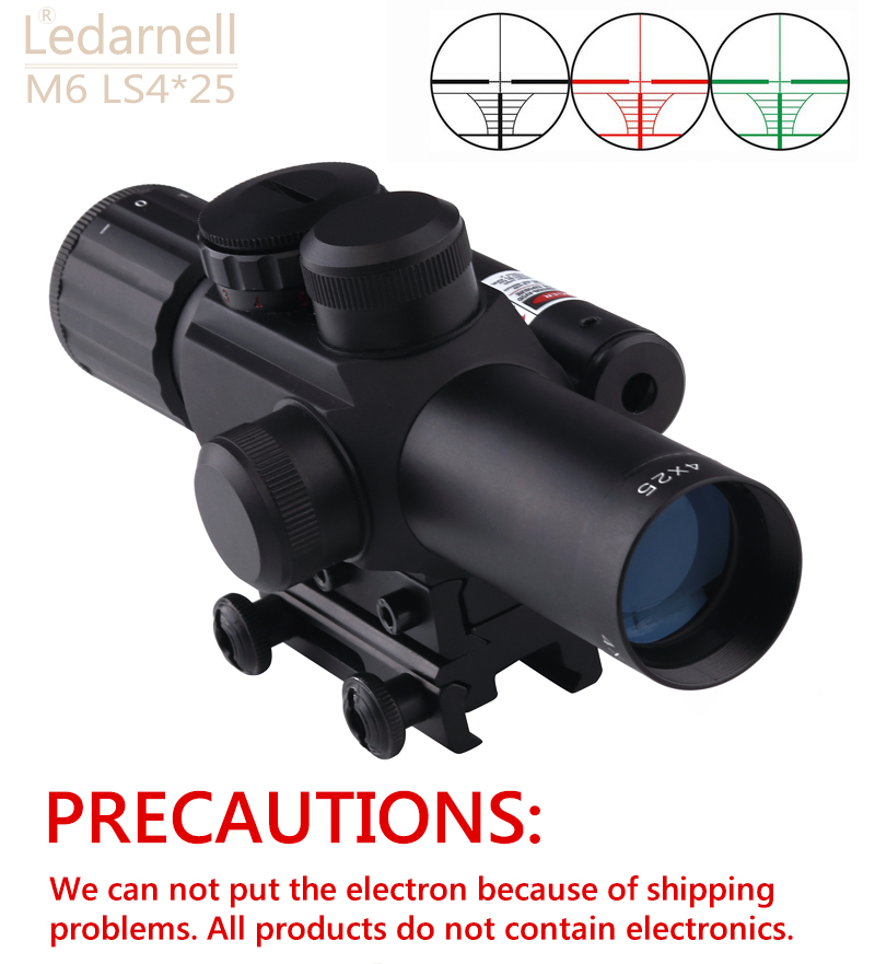 4X25 Tactical M6 Red Green Mil Dot Sight Scope with Red Laser 21mm Rail Mount Aim Airsoft Scope For plastic gun War game boruit tactical green dot mini laser sight with tail switch scope pistol with lengthen rat tail hunting optics for gun