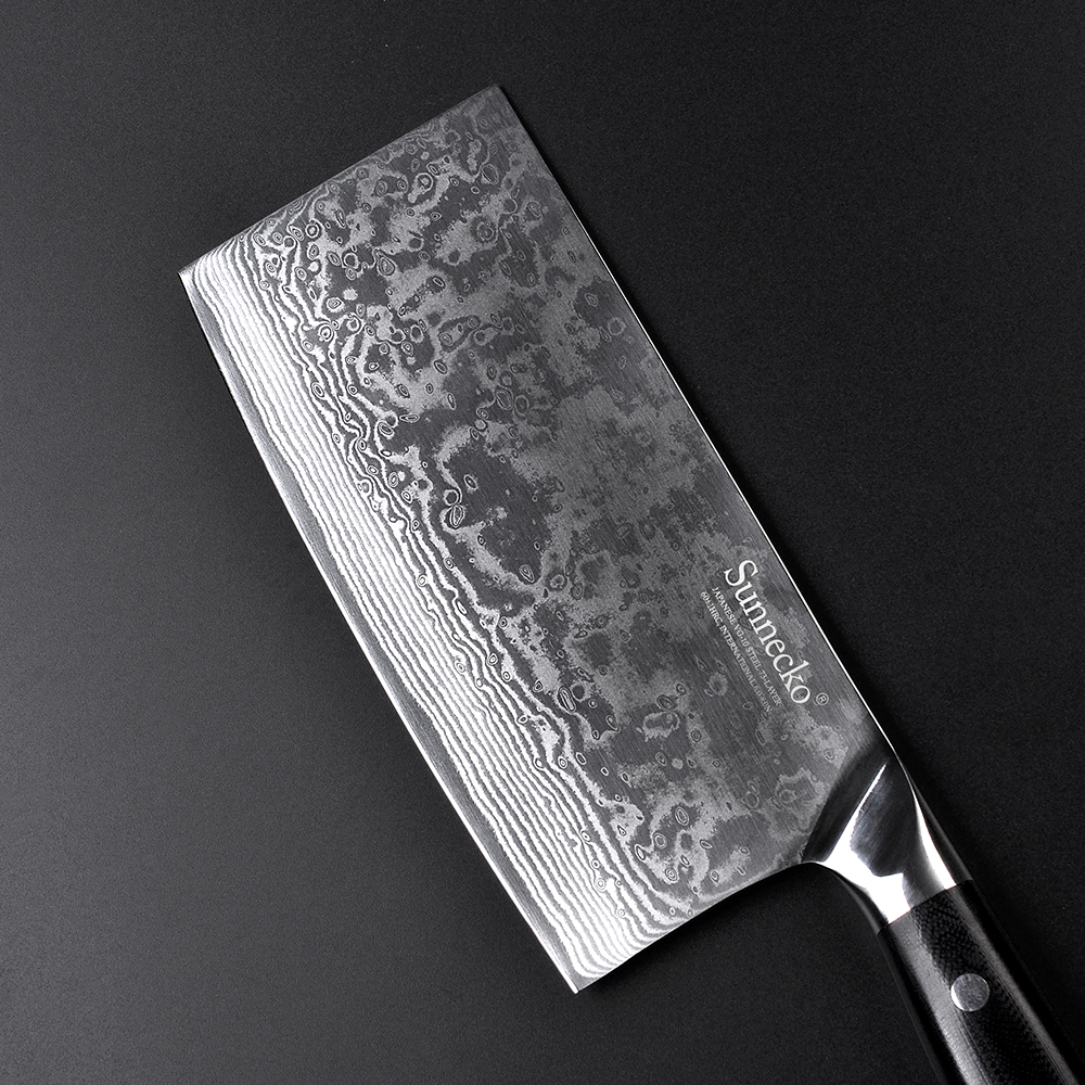 SUNNECKO 7 inch Cleaver Knife Chef Knife Kitchen Knives Japanese 73-Layer Damascus VG10 Steel Sharp 60HRC G10 Handle Cut Tools