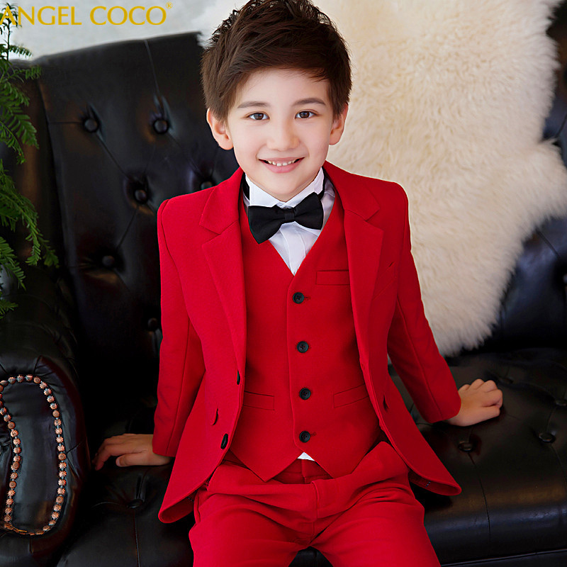 5pcs/set(Blazer+Shirts+Bow+Pants+Vest) Red Plaid Wedding Flower Boys Spring Children's Day Chorus Show/Performance Blazer Suits tartan plaid raw edge blazer