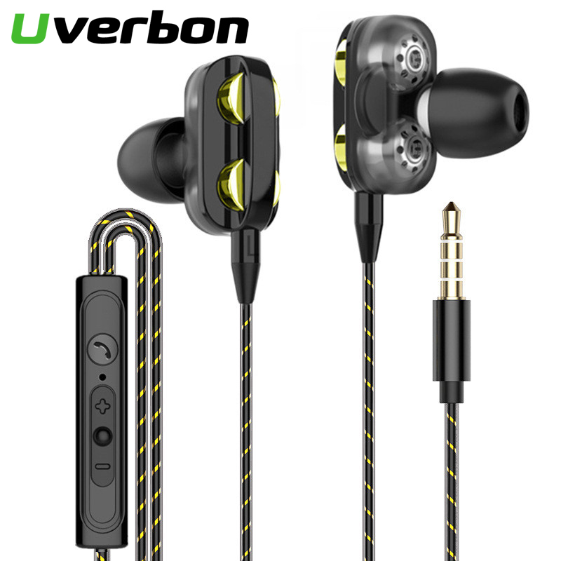 9D Double Dynamic Hi-Fi Earphone 3.5mm Wired Headphone Sport Headset Earbuds With HD Microphone For IPhone Samsung Xiaomi Phone