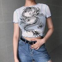 Gauze Elastic Tees 2019 T shirt Totem Dragon Women New Clothes Sweatshirt O Collar Women Tracksuit Female Clothes See through T