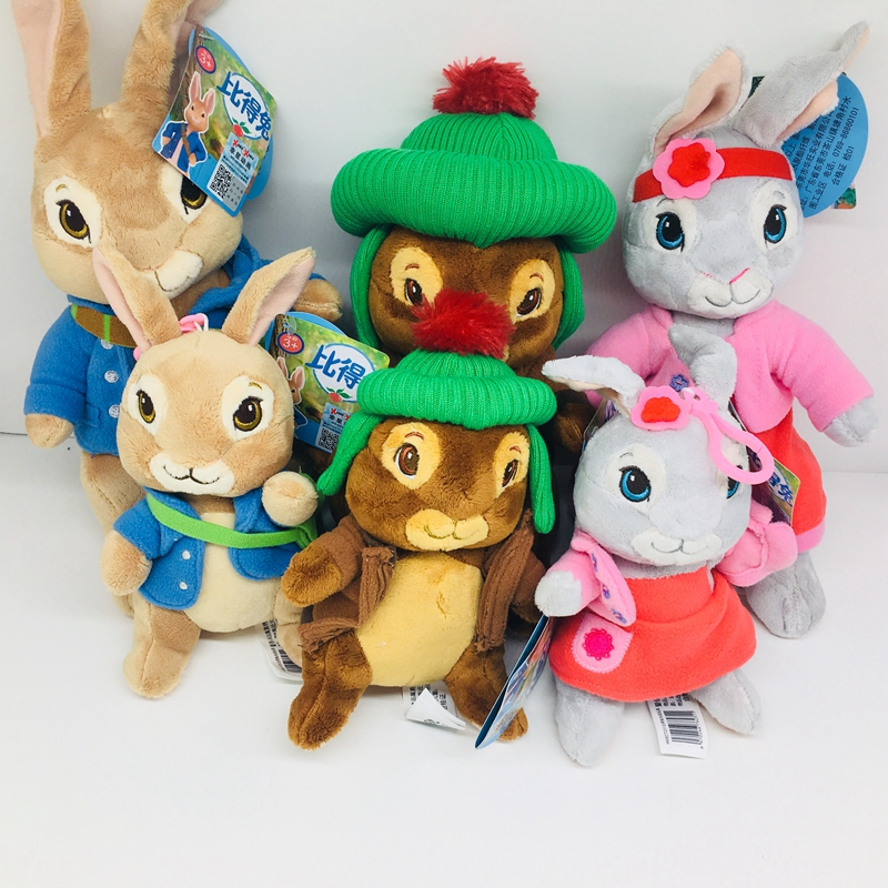 30cm Cartoon Movie Peter Rabbit Plush Dolls Stuffed Toys Peter Bunny  Rabbit Toys For Children Gifts With Keychain