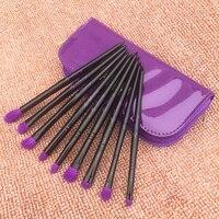 Qualidade 9 pçs/set Pêlo de cabra Pincéis de Maquiagem Sombra Nariz Destaque Contour Blending Brushes Kit com Saco de Couro Roxo