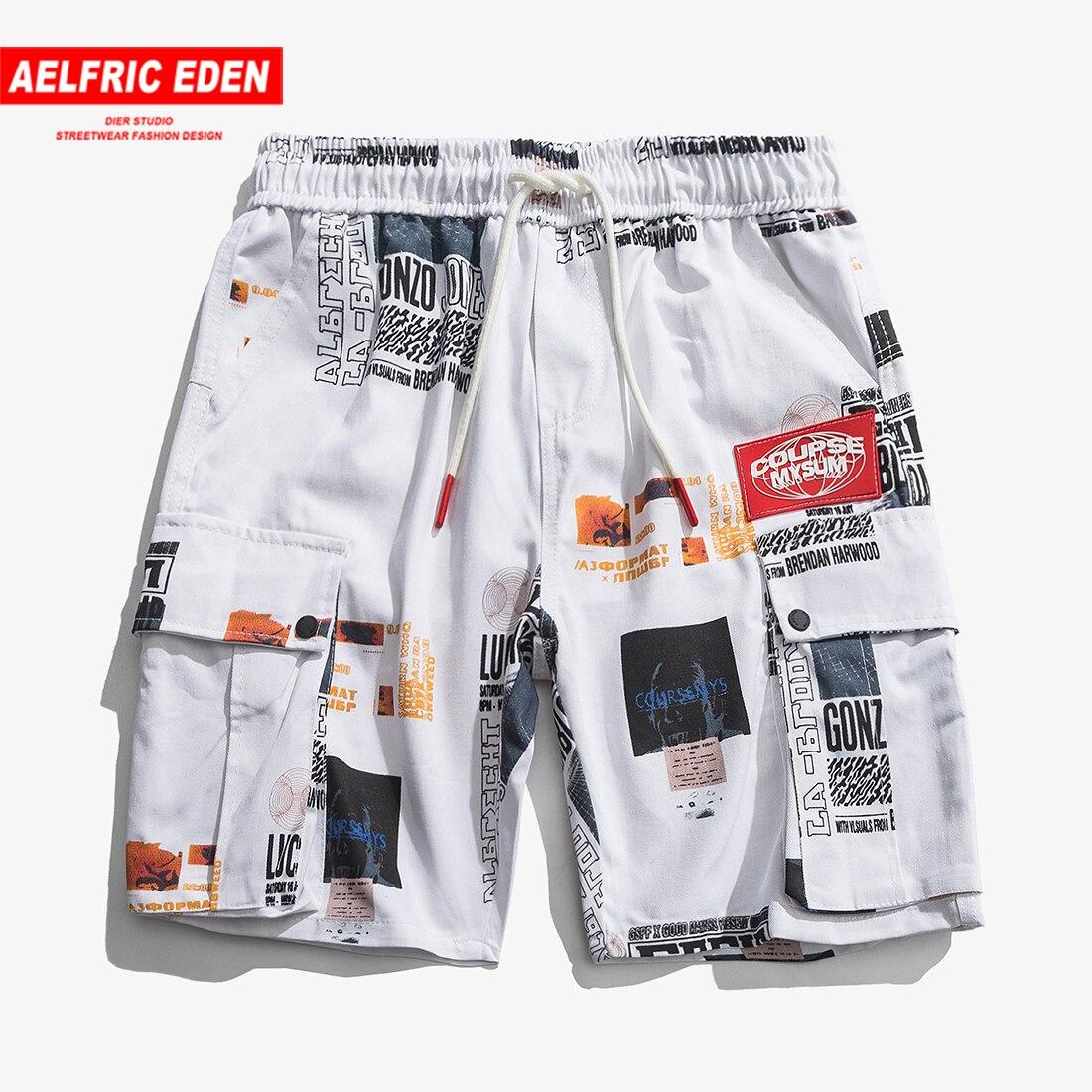 d4b3b1ab5e76 Aelfric Eden Multi-pockets Hop Hop Cargo Short Pants Vintage Badge Stitched  Casual Joggers Letter Print Streetwear Men Shorts ~ Perfect Sale June 2019