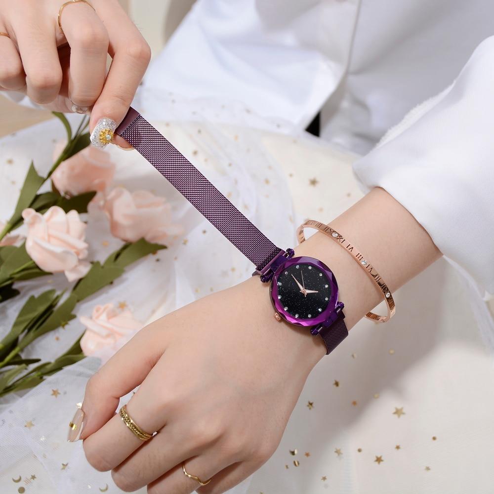 Top Brand Watches For Women Rose Gold Mesh Magnet Buckle Starry Quartz Watch Geometric Surface Casual Women Quartz Wristwatch 2