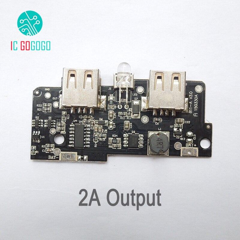 2 Pièces 5 V 2a Module De Chargeur De Batterie Externe Mobile Augmenter L'alimentation Circuit D'alimentation Pcb Carte De Charge Bricolage Double Usb Led éclairage