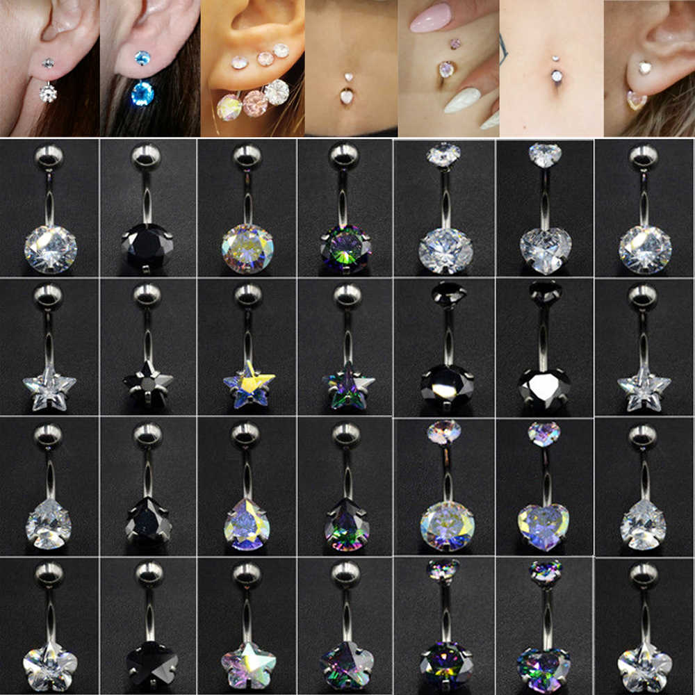 1Pc Surgical Steel Double Heart Star Zircon New Navel Belly Button Ring Ear Cartilage Helix Septum Earring Body Piercing Jewelry