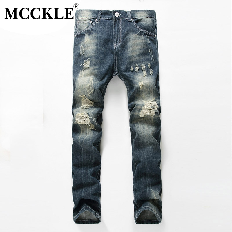 MCCKLE Brand Designer Men Ripped Jean Trousers Fashion Slim Fit Straight Jeans Pants Male Distressed Denim Joggers Man new men slim straight locomotive jeans denim jeans cowboy fashion business designer famous brand men s jeans trousers pant 29 36