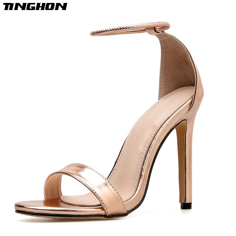 Us 15 95 50 Off Tinghon Summer Champagne Stiletto High Heels Women S Sandals Dress Wedding Shoes For Ladies Open Toe Ankle Strap High Shoes In High