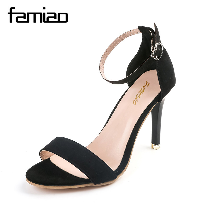 FAMIAO 2017 Concise Nude Suede High Heels Sandals Women Sequined Ankle Strap Summer Dress Shoes Woman Open Toe Sandals XWF0648-5 lcx 2017 concise nude suede high heels sandals women sequined ankle strap summer dress shoes woman open toe sandals