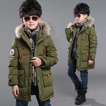 Мальчики зимняя куртка вниз хлопка проложенный пуховик для детей мальчик с капюшоном сгущает верхняя одежда пальто теплые детская одежда
