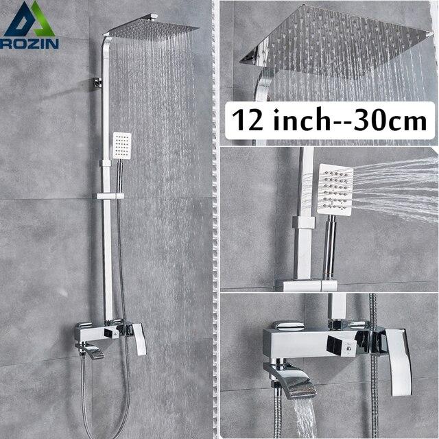 Хромированная Ванна Душевая система настенный душ с дождевой насадкой смеситель для душа с одной ручкой Ванная Душ Смесители Водопад ванна носик
