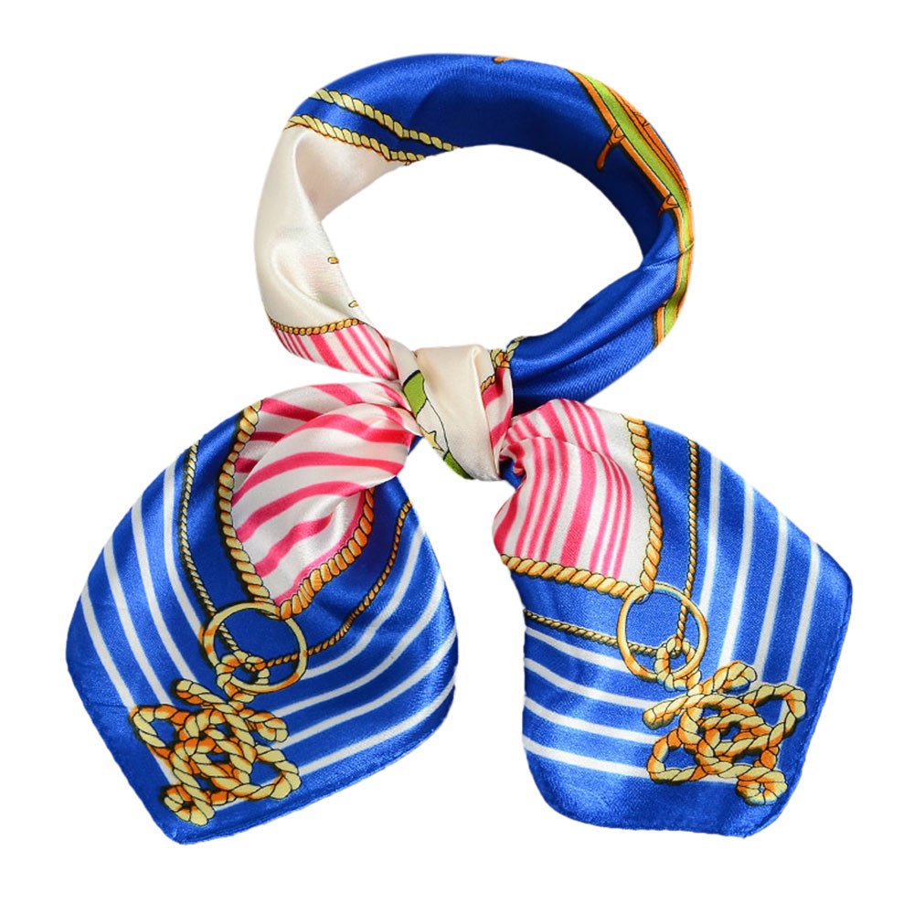 Women Printing Square Scarf Head Wrap Kerchief Neck Shawl Occupation Women s Bank stewardess front desk small square scarf