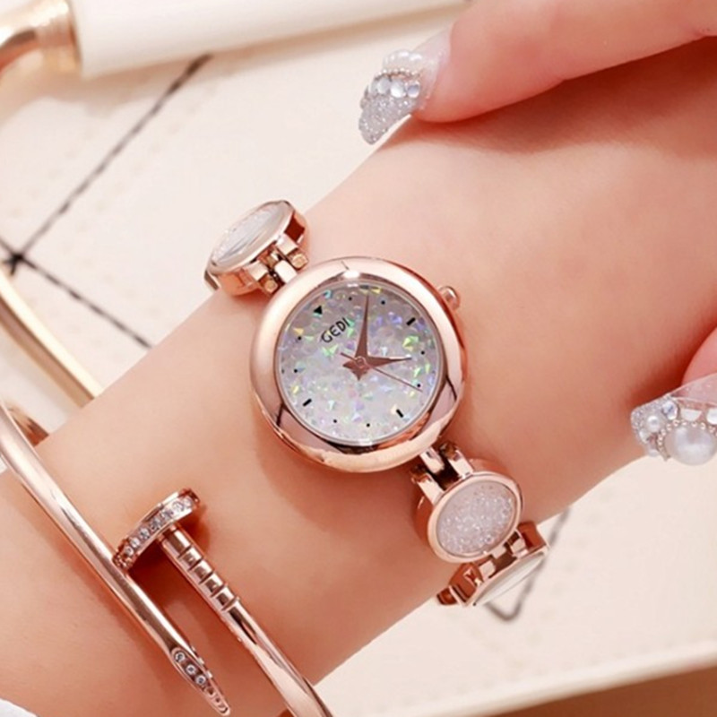 GEDI Bright Crystal Bracelet Watches Women Luxury Brand Rose Gold Stainless Steel Quartz Watch Ladies Fashion Waterproof Watches