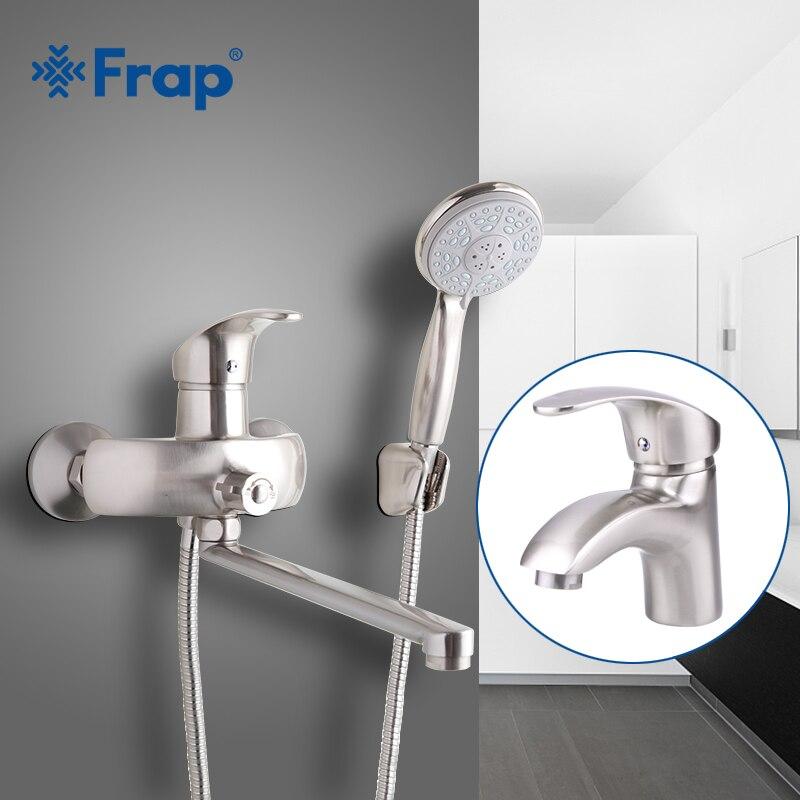 Frap Níquel Escovado Banheiro torneira do chuveiro com torneira da bacia de água quente e fria torneiras chuveiro ABS tubo de Saída F2221-5 + F1021-5