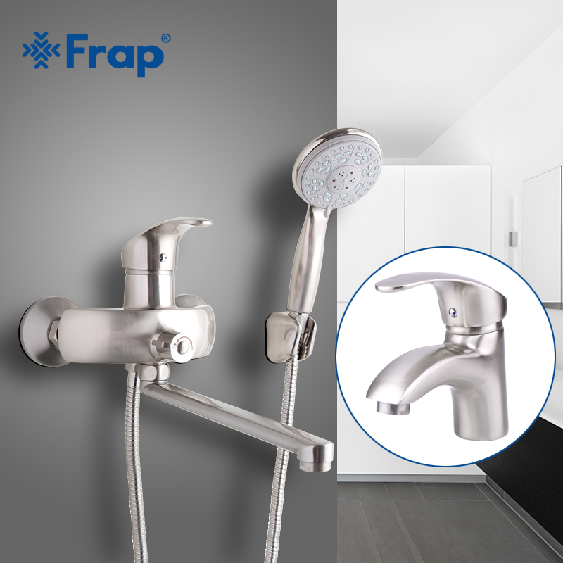 Frap Nickel Brushed Bathroom shower faucet with basin tap hot and cold water taps ABS shower head Outlet pipe F2221-5+F1021-5 frap colorful handle rubber cover shower faucet cold and hot water single handle with shower bar and basin faucet f1034 f2434