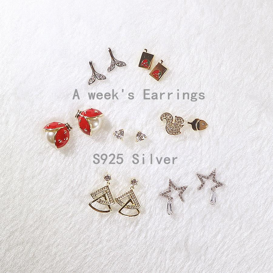 1 ensemble 7 paires femmes filles 925 argent une semaine boucles d'oreilles mignon romantique cadeau date livraison gratuite