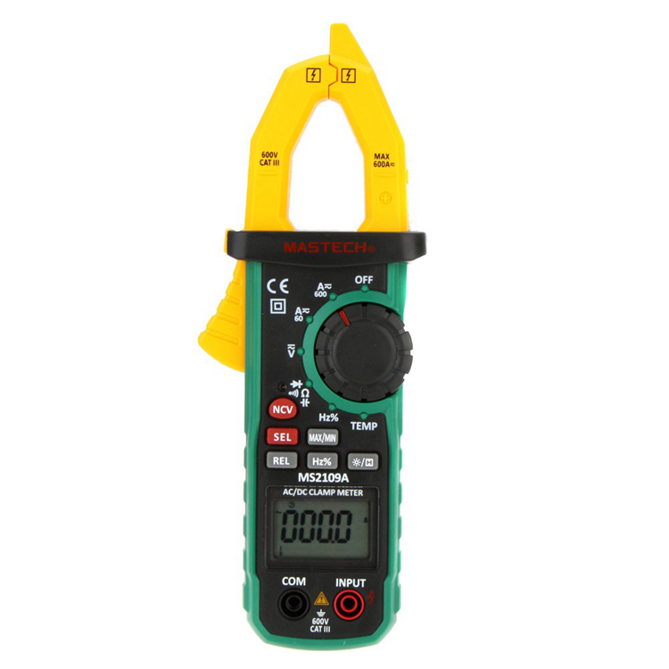 Mastech Auto Range Digital AC DC Clamp Meter Ture RMS 600A Multimeter Volt Amp Ohm HZ Temp Capacitance Tester NCV Test MS2109A mastech ms8360f auto range digital multimeter dmm frequency capacitor ncv hfe tester comprobadores multimetros upgraded ms8260f