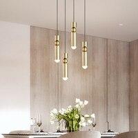 led Pendant Lamp Gold Long Tube light Nordic modern pendant lights Kitchen Dining Room Bar Counter Decoration Home Lighting