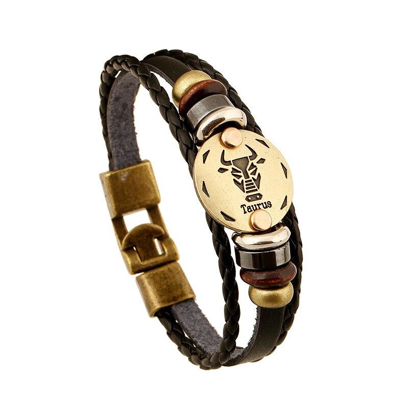 Taurus Genuine Leather Bracelet 12 Zodiac Horoscope Charms Bracelet Men For Women Bangles Hematite Beads Bracelets