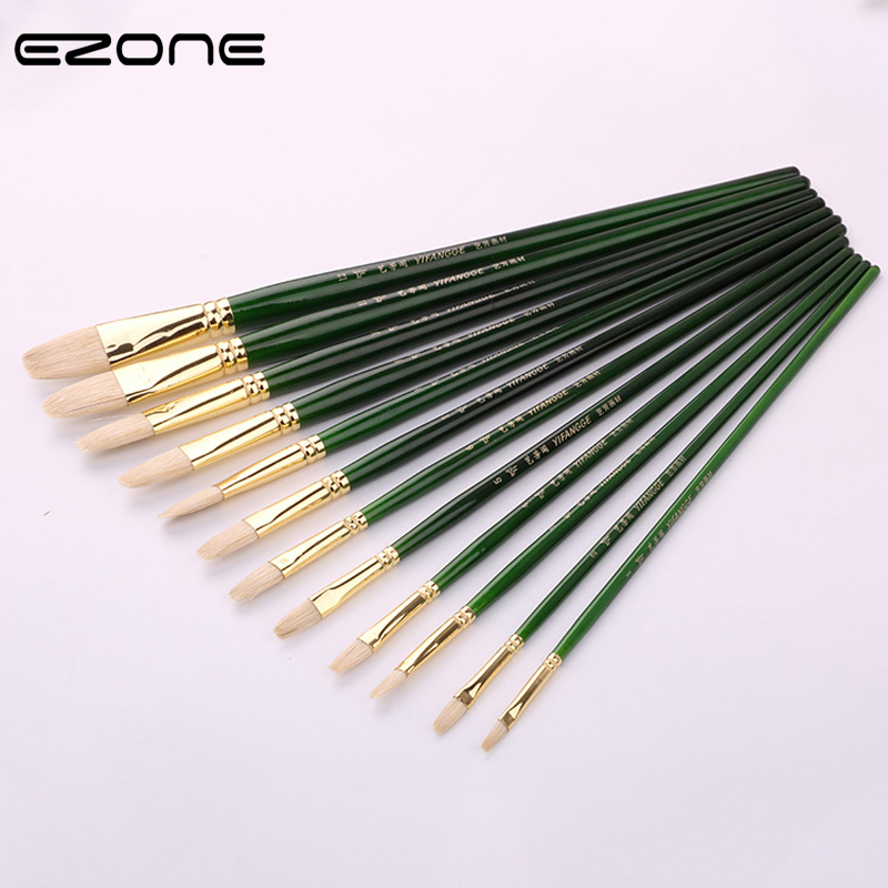 EZONE Green Painting Brush Art Mark Pen Pig Hair Bristle Art Painting Brush Watercolor Oil Painting Art Craft Tool Supplies Gift