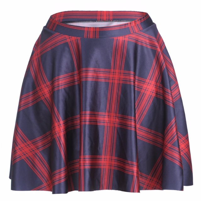 ef88f14b6 Hot Selling Plus Size Women Mini Pleated Skirt Fashion Red Plaid 3D Print  Polyester Lolita Skater Skirt Wholesale