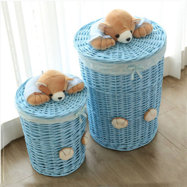 Small Large Laundry Basket Organizer Woven Wicker Baskets Round Hamper Sorter Storage With Bear Head Lid Cesta