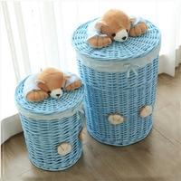 Small & Large laundry basket organizer woven wicker baskets Round Laundry Hamper Sorter Storage Basket with Bear Head Lid cesta