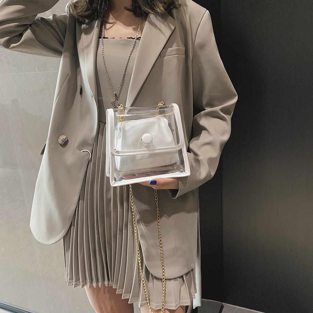 Túi nữ Thời Trang Trong Suốt Đơn Giản Nhỏ Vuông Sứ Giả Vai bolsa masculina sắc Femme malas de senhora bolsa Feminina