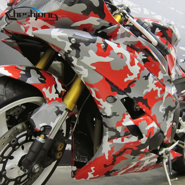 Red Black White Camo Vinyl Stickers Scooter Car Hood Roof