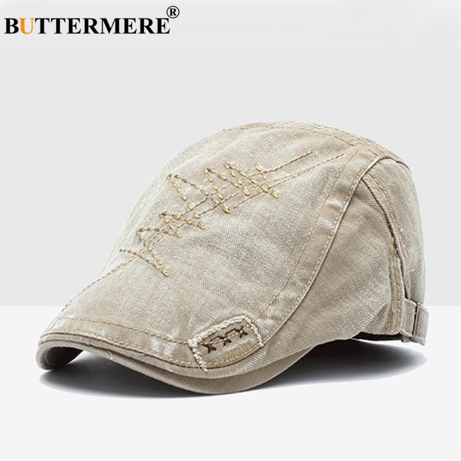 BUTTERMERE Flat Cap Hat Men Washed Denim Embroidery Gatsby Ivy Cap Male Pattern Vintage Army Green Autumn Driver Hats And Caps in Men 39 s Berets from Apparel Accessories