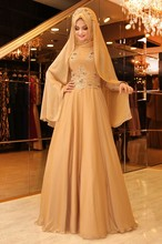 2017 Muslim Evening Dresses High Neck Appliques Beaded Arabic Caftan Abaya Long Sleeves Muslim Hijab Evening Party Prom Dress