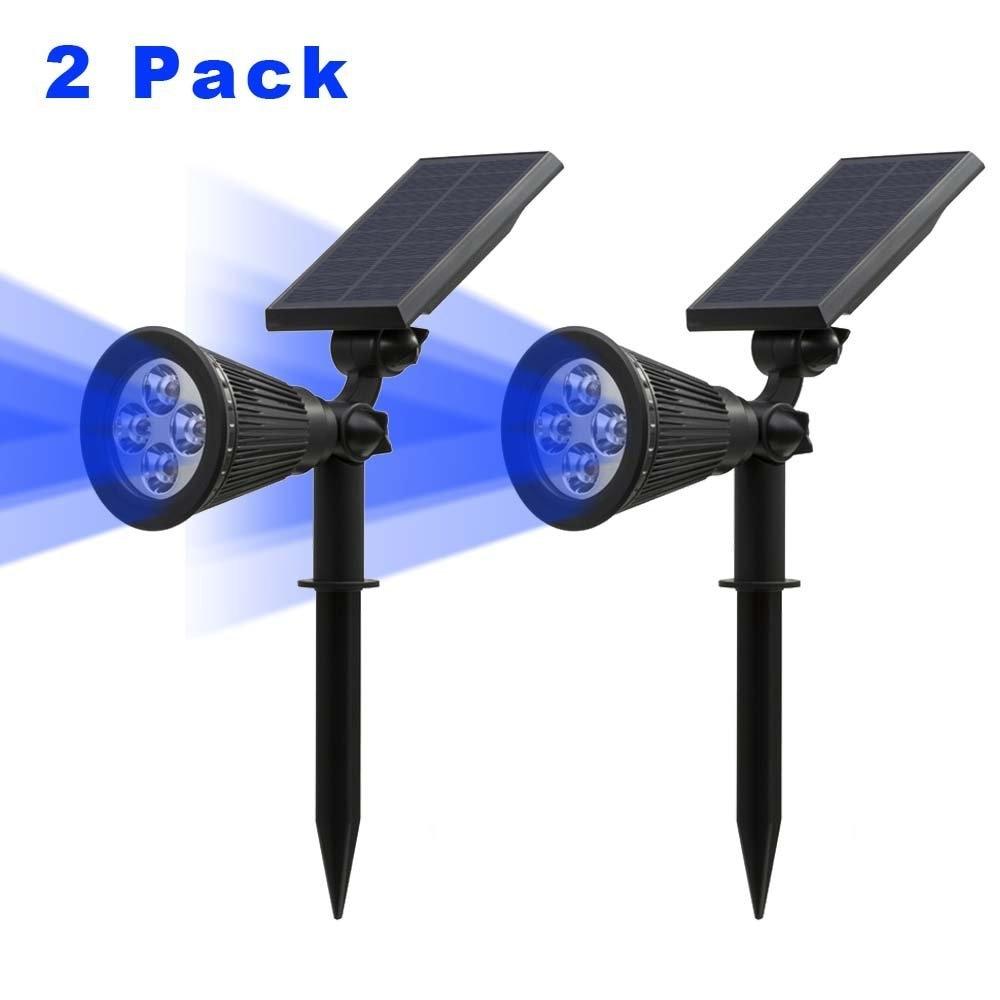 T-SUN 2 Pack kék napelemes spotlámpák IP65 vízálló 4 LED kültéri fali lámpa állítható napfény a fa terasz udvarához