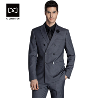 Tailor made Men Double Breasted Wool Suit Slim fit Wedding Suit Men Tuxedo 2 Pieces(Jacket+Pants)