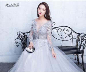 Image 5 - Modabelle 그레이 댄스 파티 드레스 2019 로브 soiree manche longue a 라인 tulle appiques 섹시한 공식 드레스 robe de bal longue