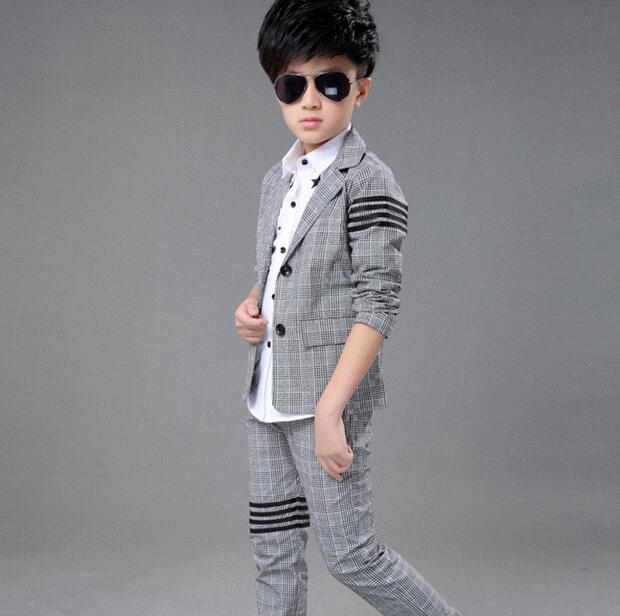 8a3e9e967 2017 New Fashion Baby Kids Boys Children Blazers Suits Boys Suits For Weddings  Grey Lattice Wedding Suit Jacket Pants 2pcs/set-in Clothing Sets from  Mother ...