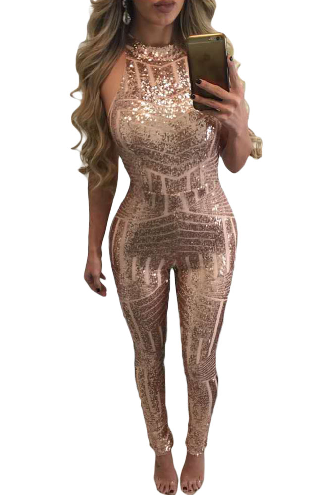 228afd59a5bb 2017 sexy fashion Zomer Overalls Mouwloze Blush Sequin Keyhole Terug  Jumpsuit LC64241 Coltrui Rompertjes Womens Jumpsuit lange-in Jumpsuits from  Women s ...