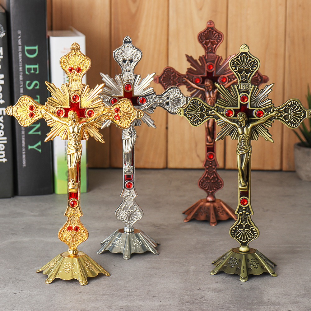 Church Relics Figurines Crucifix Jesus Christ On The Stand Wall Cross Antique Religious Altar Home Chapel Decoration 4 Colors