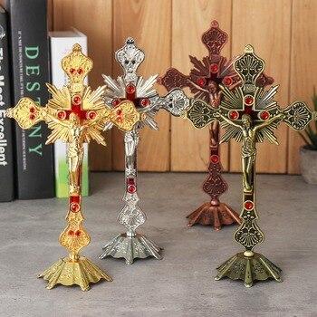 Figuras de reliquias de la Iglesia crucifijo Jesucristo en el soporte de la pared de la Cruz antiguo de la capilla del hogar de la Iglesia decoración 4 colores